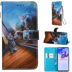 Mirror Cat Matte Leather Wallet Phone Case for Samsung Galaxy A21