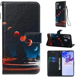 Wandering Earth Matte Leather Wallet Phone Case for Samsung Galaxy A21