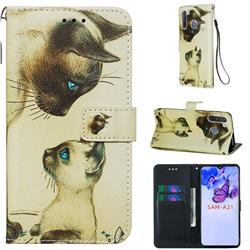 Cat Confrontation Matte Leather Wallet Phone Case for Samsung Galaxy A21