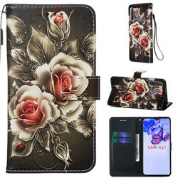 Black Rose Matte Leather Wallet Phone Case for Samsung Galaxy A21
