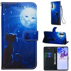 Cat and Moon Matte Leather Wallet Phone Case for Samsung Galaxy A21