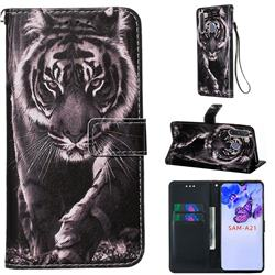 Black and White Tiger Matte Leather Wallet Phone Case for Samsung Galaxy A21
