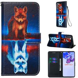 Water Fox Matte Leather Wallet Phone Case for Samsung Galaxy A21