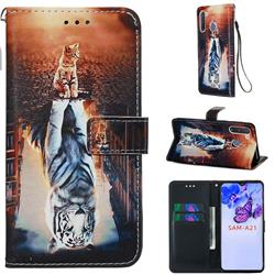 Cat and Tiger Matte Leather Wallet Phone Case for Samsung Galaxy A21