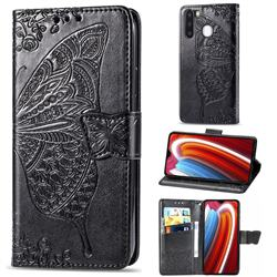 Embossing Mandala Flower Butterfly Leather Wallet Case for Samsung Galaxy A21 - Black
