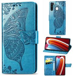 Embossing Mandala Flower Butterfly Leather Wallet Case for Samsung Galaxy A21 - Blue