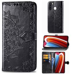 Embossing Imprint Mandala Flower Leather Wallet Case for Samsung Galaxy A21 - Black