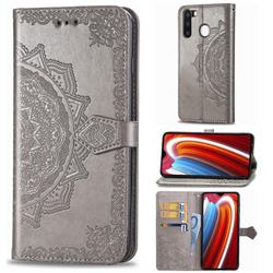 Embossing Imprint Mandala Flower Leather Wallet Case for Samsung Galaxy A21 - Gray