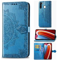 Embossing Imprint Mandala Flower Leather Wallet Case for Samsung Galaxy A21 - Blue
