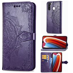 Embossing Imprint Mandala Flower Leather Wallet Case for Samsung Galaxy A21 - Purple