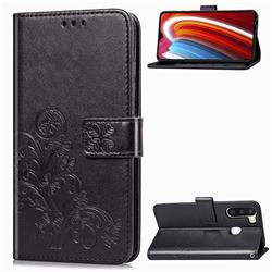 Embossing Imprint Four-Leaf Clover Leather Wallet Case for Samsung Galaxy A21 - Black