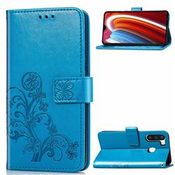Embossing Imprint Four-Leaf Clover Leather Wallet Case for Samsung Galaxy A21 - Blue
