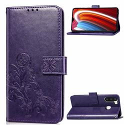 Embossing Imprint Four-Leaf Clover Leather Wallet Case for Samsung Galaxy A21 - Purple