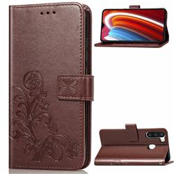 Embossing Imprint Four-Leaf Clover Leather Wallet Case for Samsung Galaxy A21 - Brown