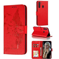Intricate Embossing Lychee Feather Bird Leather Wallet Case for Samsung Galaxy A21 - Red