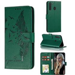 Intricate Embossing Lychee Feather Bird Leather Wallet Case for Samsung Galaxy A21 - Green