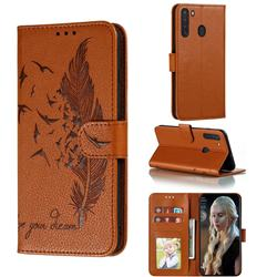 Intricate Embossing Lychee Feather Bird Leather Wallet Case for Samsung Galaxy A21 - Brown