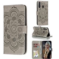 Intricate Embossing Datura Solar Leather Wallet Case for Samsung Galaxy A21 - Gray