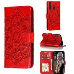 Intricate Embossing Datura Solar Leather Wallet Case for Samsung Galaxy A21 - Red