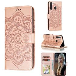 Intricate Embossing Datura Solar Leather Wallet Case for Samsung Galaxy A21 - Rose Gold