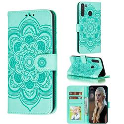 Intricate Embossing Datura Solar Leather Wallet Case for Samsung Galaxy A21 - Green
