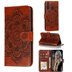 Intricate Embossing Datura Solar Leather Wallet Case for Samsung Galaxy A21 - Brown