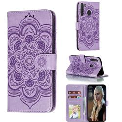 Intricate Embossing Datura Solar Leather Wallet Case for Samsung Galaxy A21 - Purple