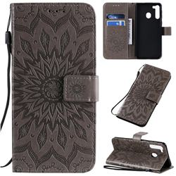 Embossing Sunflower Leather Wallet Case for Samsung Galaxy A21 - Gray