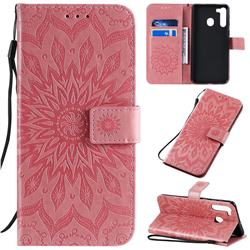 Embossing Sunflower Leather Wallet Case for Samsung Galaxy A21 - Pink