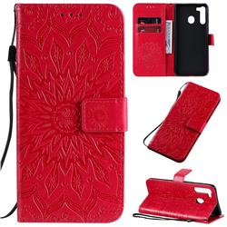 Embossing Sunflower Leather Wallet Case for Samsung Galaxy A21 - Red