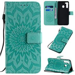 Embossing Sunflower Leather Wallet Case for Samsung Galaxy A21 - Green