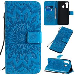 Embossing Sunflower Leather Wallet Case for Samsung Galaxy A21 - Blue