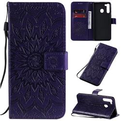 Embossing Sunflower Leather Wallet Case for Samsung Galaxy A21 - Purple