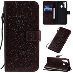 Embossing Sunflower Leather Wallet Case for Samsung Galaxy A21 - Brown