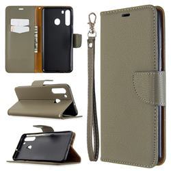 Classic Luxury Litchi Leather Phone Wallet Case for Samsung Galaxy A21 - Gray