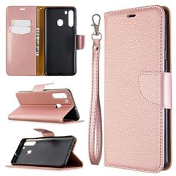 Classic Luxury Litchi Leather Phone Wallet Case for Samsung Galaxy A21 - Golden