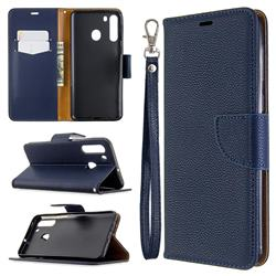 Classic Luxury Litchi Leather Phone Wallet Case for Samsung Galaxy A21 - Blue