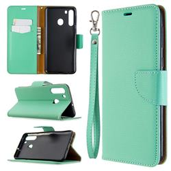 Classic Luxury Litchi Leather Phone Wallet Case for Samsung Galaxy A21 - Green