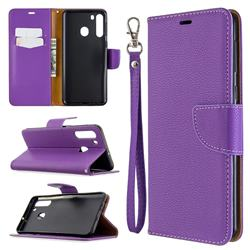 Classic Luxury Litchi Leather Phone Wallet Case for Samsung Galaxy A21 - Purple