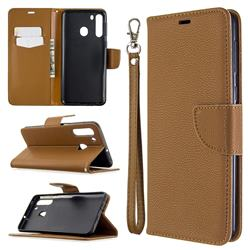 Classic Luxury Litchi Leather Phone Wallet Case for Samsung Galaxy A21 - Brown