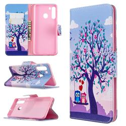 Tree and Owls Leather Wallet Case for Samsung Galaxy A21