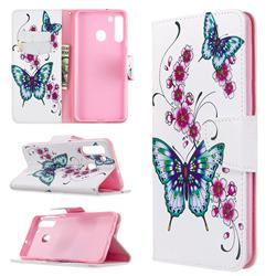 Peach Butterflies Leather Wallet Case for Samsung Galaxy A21