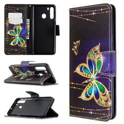 Golden Shining Butterfly Leather Wallet Case for Samsung Galaxy A21