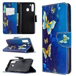 Golden Butterflies Leather Wallet Case for Samsung Galaxy A21