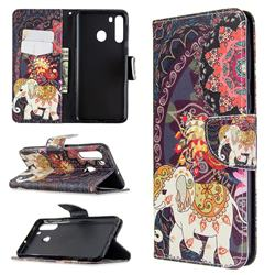 Totem Flower Elephant Leather Wallet Case for Samsung Galaxy A21