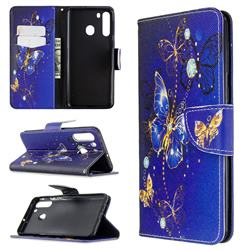 Purple Butterfly Leather Wallet Case for Samsung Galaxy A21