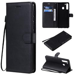 Retro Greek Classic Smooth PU Leather Wallet Phone Case for Samsung Galaxy A21 - Black