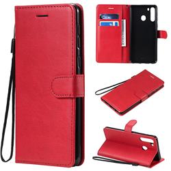 Retro Greek Classic Smooth PU Leather Wallet Phone Case for Samsung Galaxy A21 - Red
