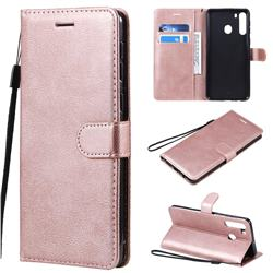 Retro Greek Classic Smooth PU Leather Wallet Phone Case for Samsung Galaxy A21 - Rose Gold