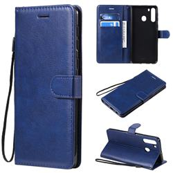 Retro Greek Classic Smooth PU Leather Wallet Phone Case for Samsung Galaxy A21 - Blue